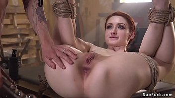 Neighbor Owen Gray puts in rope bondage hot redhead Violet Monroe and then with huge dick bangs her throat and fucks her ass with sex toy