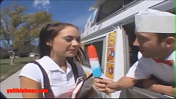 Gullibleteens.com icecream truck schoolgirl gets more than icecream in pigtails