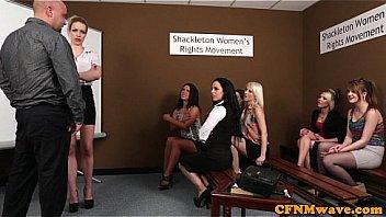 CFNM femdoms humiliating wanking dude