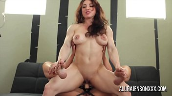 Blonde with big tits fucks her muscular girlfriend with a strapon