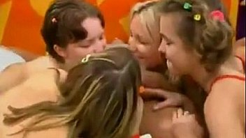 Four Cute Girls Bang A Guy In A Fivesome