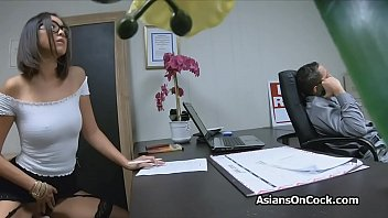 Asian bombshell in stockings fucked by her future boss