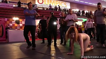 Master Ramon Nomar whips and zappers hot Euro brunette slut Rena Reindeer then fucks her throat and gives her facial at crowded public sex expo Thumbnail
