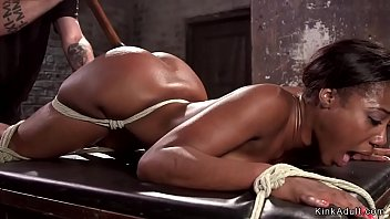 Hot ass ebony slave gets pierced nipples clamped by master then pussy rough finger fucked