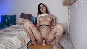 Brunette Big Ass Masturbates Pussy Dildo and Cum