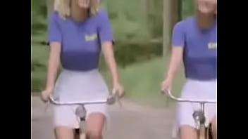 Blonde teens ride bikes