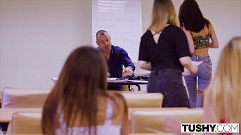 TUSHY Gorgeous brunettes seduce professor in anal threesome