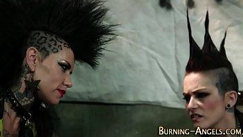 Punk rock slut rides dick Thumbnail