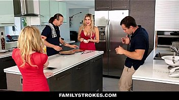 Family Stokes - Horny Stepsister (Angel Smalls) Seduces Stepbro During Thanks giving Meal