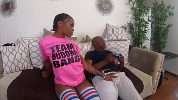 Ebony babe sucks bbc gets pussy and ass pounded