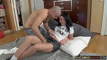 Anal sex session with skinny brunette whore
