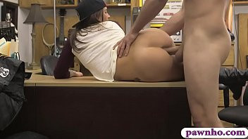 Pretty amateur brunette babe pursuaded to pawn her pussy and gets fucked by pervert pawn keeper at the pawnshop