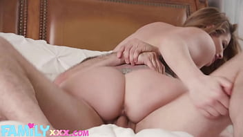 Step Son Gives Brunette Step Mommy Big Cock Deepthroat on Mother's Day
