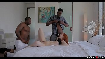 Redhead Maya Kendricks pussy being shared by two black cocks!