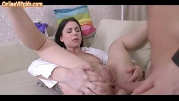 Shy brunette college student doing anal for the first time