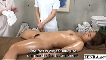 Watch Japanese women only massage clinic new hire instructed by head masseuse to lick and stimulate wet vagina of stark naked client with English subtitles preview