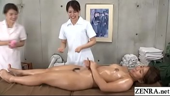 Japanese women only massage clinic new hire instructed by head masseuse to lick and stimulate wet vagina of stark naked client with English subtitles