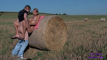 Sex between hay bales between two schoolmates
