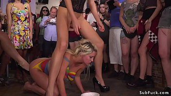 Naked body painted blonde Euro slave Sienna Day walked in public then dragged_in bar Thumbnail