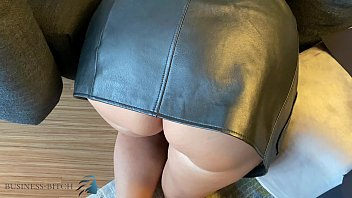 crawling personal assistant in sexy leather skirt used doggystyle ego pov