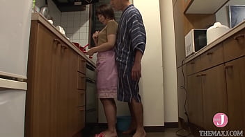 Sexy short-haired Japanese wife secretly gets banged by her father-in-law