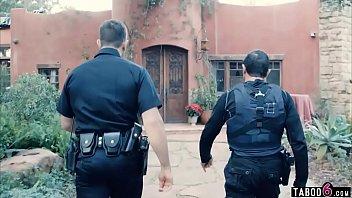 Policemen watch how stepdad disciplines his teen daughter