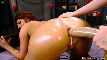 Hairy pussy redhead lesbian Savannah Fox in dungeon for Chirstmas gets her rim hole licked and fisted and fucked by big tits mistress Penny Pax