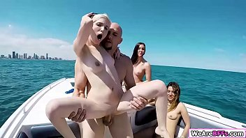 Piper Perri and her bffs Brittany Shae and other two goes to their friend boat party. They start drinking and after that. Piper and Brittany suck together guys big cock. In return guy fucks their pussy one by one deep and hard.
