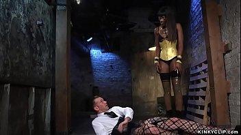 Small tits ebony mistress Ana Foxxx in high heels boots and latex stockings whips and spanks bent over alt man slave Will Havoc then rides his dick in interracial femdom