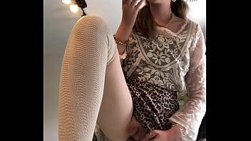 blonde masturbates in skirt