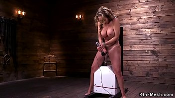Watch Busty blonde Milf rides Sybian and controls speed then fucks machine in bondage preview