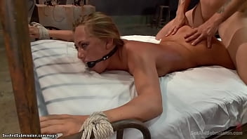 Blindfolded blonde slave Carter Cruise with ass hook and wrists tied to ceiling fucked then anal fucked in rope bondage by big cock master Mr Pete