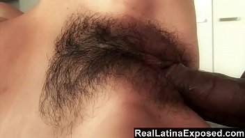Latina opens her tight pink slit for a black neighbor's huge cock