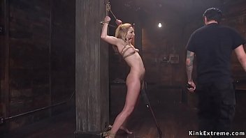 Shaved cunt blonde slut Zoe Parker with vibrator between her legs gets zaaper from master Tommy Pistol then hard banged