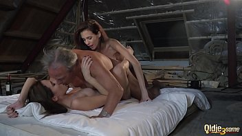 Old man fucks two twin sisters and gets the best double blowjob from them