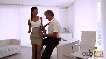 OLD4K. Dazzling brunette facialized after great sex with mature boss