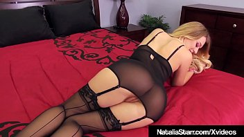 Sex Bomb Natalia Starr bangs her beautiful box with a black spiral dildo while wearing thigh high stockings & black heels! This sexy Horny Blonde is in Bed waiting for you to dump your load all over her!