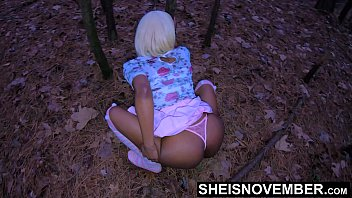 Outdoor Debauchery Fuck, My Tiny Geek Daughter Inlaw Msnovember Cornered Inside Dark Woods With Pussy Wet, Black Outside Cowgirl & Upskirt With Saggy Boobs Exposed UHD Sheisnovember