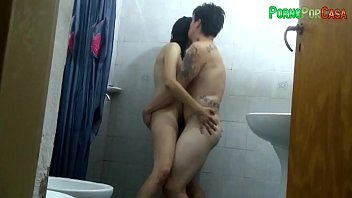 Hot milf latina takes a shower with his boyfriend ends fucking dirty