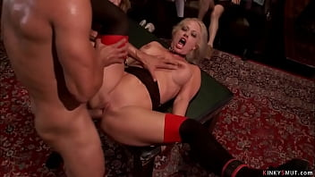 Bg cock to Karlo Karrera fucks throats and pussies to hot busty slaves in lingerie Candice Dare and Holly Heart in the Upper Floor orgy bdsm party