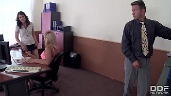 Gorgeous office sluts eating pussy get caught and fucked!