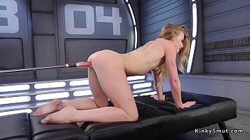Hot blonde gets red dildo on fucking machine