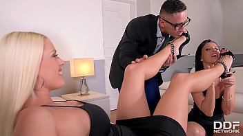 Hipster enjoys Foot Fetish threesome with Blanche Bradburry & Vicky Love