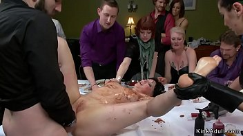 At public soup course master and mistress present their big tits gagged brunette slave and anal fuck her on table with food