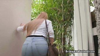 Big tit glasses amateur teen blows outdoors