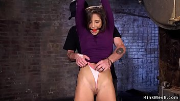 Brunette beauty in hogtie extreme bondage fucked with dick on a stick