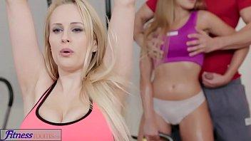 2 big boobed girls in a gym