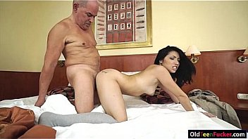 Teen Rina Ellis gets fucked by an old dude and takes a piss