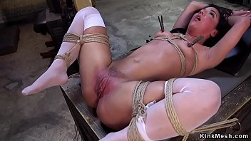 Dark haired slave with two masters getting anal gangbang and cumshot