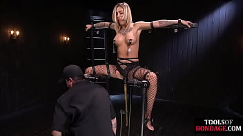 BDSM sub bound and toyed while contorted